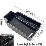 Boîte de rangement d'accoudoir d'automobile for Audi Q3 8U 2013-2018 accessoires de voiture organisateur de stockage de conteneur de console centrale (Nom de la couleur : Black)