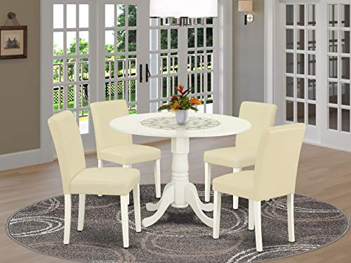 East West Furniture Set 5 Pc PU Leather Parsons Dining Room Chairs-Linen White Finish Hardwood two 9-inch drop leaves Wood Table and Frame, 5