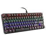 Teclado mecánico para juegos de perfil bajo, ultra delgado, clicky azul interruptor arco iris llevó retroiluminado, panel de aluminio TKL 87 teclas (US-Layout) teclado para PC Gamer Typist
