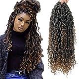 Goddess Locs Crochet Hair 18Inch Pre Looped Curly Faux Locs Crochet Hair ,Hippie Locs Fauxlocs Bohemian Crochet Braids Hair for Black Women 4Packs(1B/30, 18inch) …