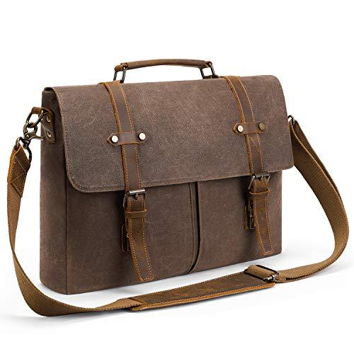 Fresion Mens Messenger Bag 15.6 Inch Waterproof Waxed Canvas Leather Briefcase Large Satchel Shoulder Bag Rugged Leather Computer Laptop Bag, Brown