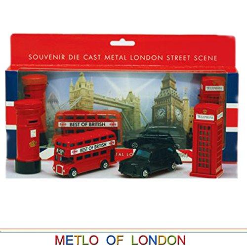 London Souvenir / Collect Die Cast 8-9cm Länge Modell-Set mit Bus, Taxi, Telefonzelle und Briefkasten