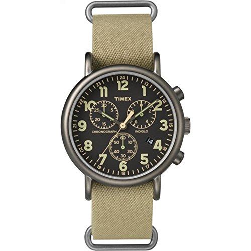 Timex Weekender Chrono Oversized | Tan Nylon Strap Black Dial | Casual Watch