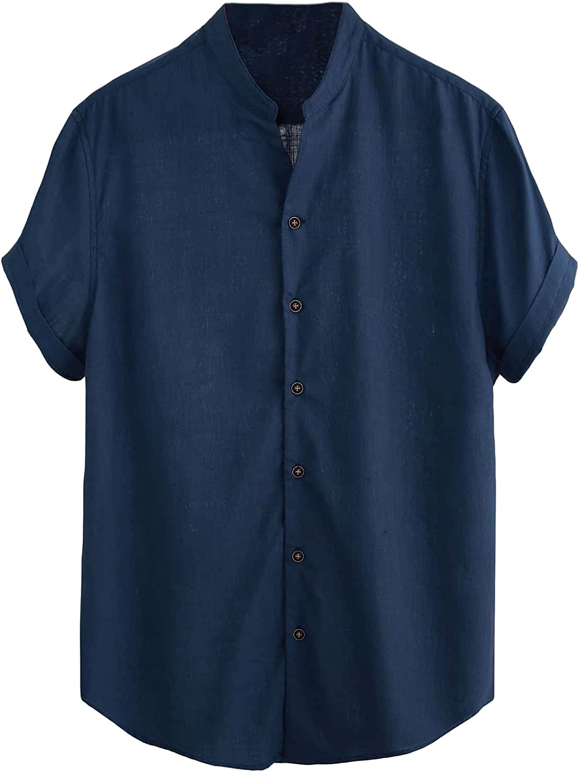 Milumia Men's Casual Shirt Button Up Short Sleeve Notched Shirt Button Front Work Top