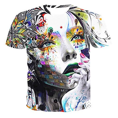 SSBZYES Herren T-Shirts Herren Kurzarm Bedruckte T-Shirts Sommer kragenlose, locker sitzende Männer und Frauen mit Kapuze gleichen Absatz Kurzarm 3D kreative Frauen Bedruckte Freizeit-T-Shirts