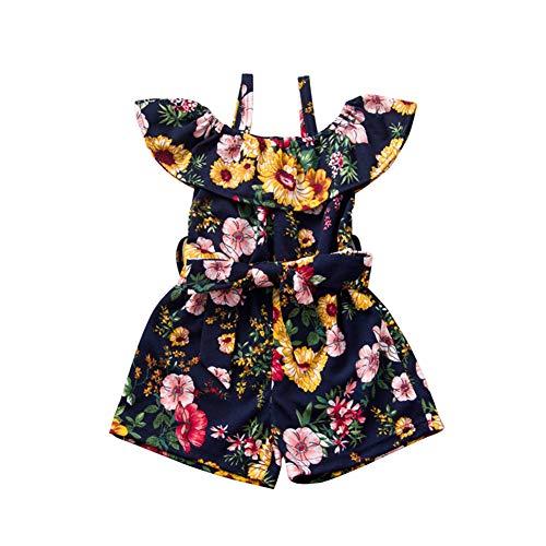 Toddler Baby Girl Summer Floral Romper Off Shoulder Halter Jumpsuit Short Trousers Pants (Royal Blue, 3-4T)