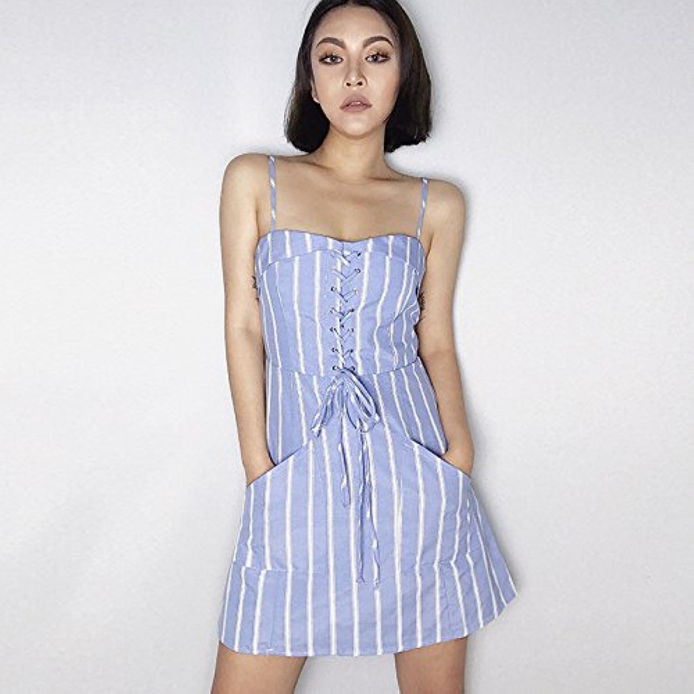 Kunzhang Dress Striped Strap Dress Summer High Waist Tie Skirt blueee, S
