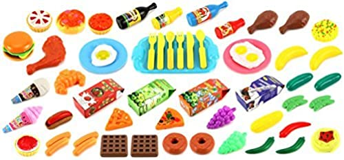 Deluxe Food Kitchen Collection 60 Pcs. Toy Food Playset w  Assorted Toy Foods, Fruits, Vegetables, Etc by Toy Food Playsets