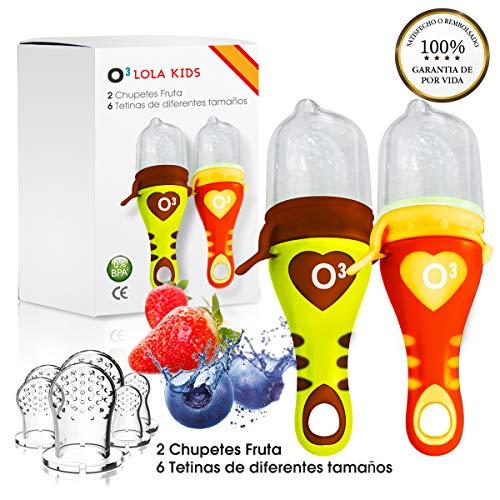 O³ Chupete Fruta - 2 Unidades con 6 Tetinas De Diferentes Tamaños - Verde/Naranja - Alimentador Antiahogo Bebe Para Las Frutas y Verduras - Ayuda La Dentición De Bebé - 100% Silicona Sin BPA