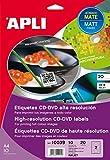 APLI 10039-Etiquetas CD/DVD permanentes tamaño mega mate 10 hojas INK
