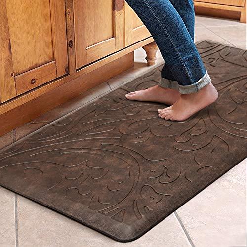 "KMAT Kitchen Mat Cushioned Anti-Fatigue Floor Mat Waterproof Non-Slip Standing Mat Ergonomic Comfort Floor Mat Rug for Home,Office,Sink,Laundry,Desk 20""(W) x 39""(L),Brown"
