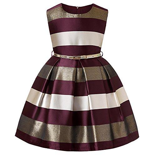 Girls Summer Dresses for Girls Fashion Dress Dresses for Kids Girls Vintage Dresses for Girls Toddler Baby Dresses (Burgundy,7)