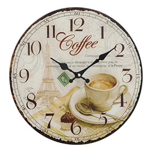 Home-Shop Wanduhr mit Quarzuhrwerk Küchenuhr Coffee