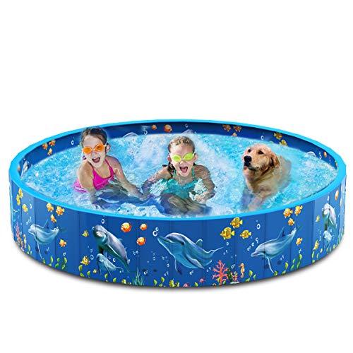Dycsin Piscina per cani pieghevole in plastica dura PVC per piscina, per cani di grandi dimensioni, bambini, portatile, pieghevole