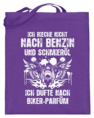 shirt-o-magic Motorradfahrer: Ich dufte nach Biker-Parfüm - Jutebeutel (mit langen Henkeln) -38cm-42cm-Violett
