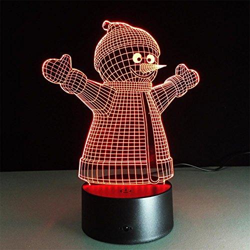 Veilleuses Illusions Optiques Snowman lampe de bureau 3d 7 couleurs Changement tactile interrupteur à distance Tableau de commande LED Night Light Lighting Décoration Accessoires pour la maison