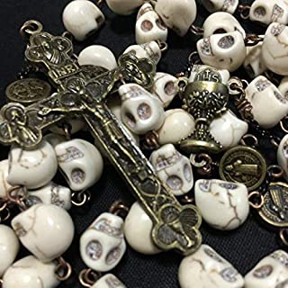 elegantmedical Catholic XL10MM howlite Skull Beads Antiqued Rosary Cross Bronze Cross Necklace Catholic Gifts