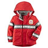 Carter's Little Boys' Hooded Rain Jacket (3T, Red Fireman)