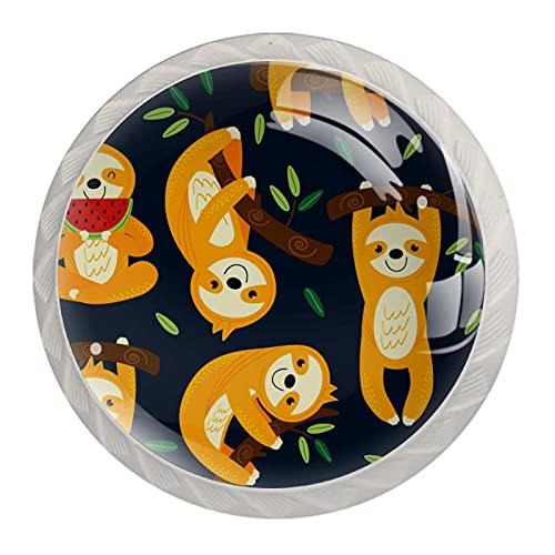 LUPIN Paquete de 4 pomos de gabinete lindos para bebé perezoso sueño en el árbol, tiradores de cajones