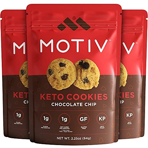 MOTIV Keto Cookies - Chocolate Chip 3-Pack - Low Carb Snacks - Keto Mini Cookies- No Sugar Added Healthy Snack Foods - Grain & Gluten Free Dessert Food - Paleo, Ketogenic, Diabetic Diet Friendly Sweets - Cookie Treat