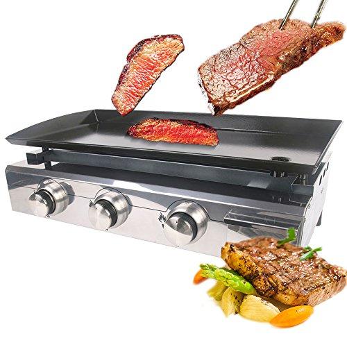 VidaXL CE Plancha à gaz 3 brûleurs LPG extérieur Barbecue Acier Émaillé Gusseisen Four, Kochplatte Taille : 670 * 340 mm