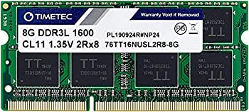 Timetec 8GB DDR3L / DDR3 1600MHz  DDR3L-1600  PC3L-12800 / PC3-12800 PC3L-12800S  Non-ECC Unbuffered 1.35V/1.5V CL11 2Rx8 Dual Rank 204 Pin SODIMM Laptop Notebook PC Computer Memory RAM Module Upgrade