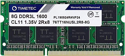 Timetec Hynix IC 8GB DDR3L 1600MHz PC3-12800 Unbuffered Non-ECC 1.35V CL11 2Rx8 Dual Rank 204 Pin SODIMM Laptop / Notizbuch Arbeitsspeicher Module Upgrade (8GB)