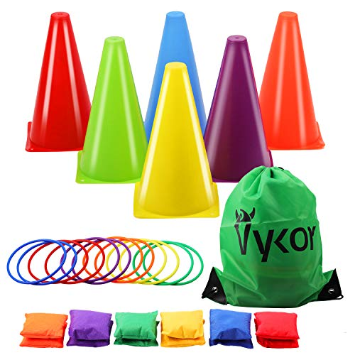Vykor Cones Toss Bag Rings Bean Bag for Throwing Game Kids Play Equipment Set, Outdoor Garden Party Carnival Sports Day Toys Games for Kids Children & Adults
