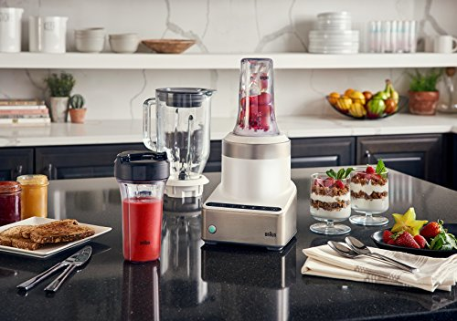 Braun PureMix Stainless Steel and White 1.75 Quart Countertop Blender with 2 Smoothie2Go Blending Cups