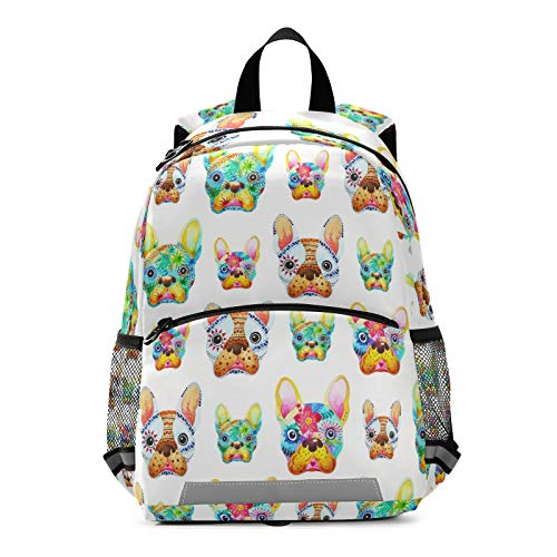 ALAZA French Bulldog Sugar Skull Backpack School Daypack Harness Safety with Removable Tether
