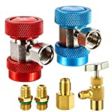 Jansamn AC R134A Adapter Fittings Adjustable A/C R134A Quick Coupler Connector High Low 1/...