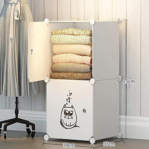 Portátiles armario ropero de dibujos animados los niños organizadores modulares de almacenamiento de bricolaje, armario combinación de ahorro de espacio de seguridad robusta, dos cubos,White