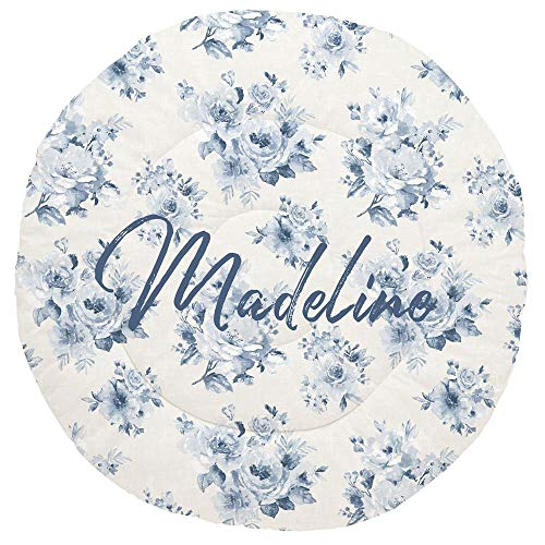 Great Deal! Carousel Designs Personalized Custom Blue Farmhouse Floral Baby Play Mat Madeline Idea -...