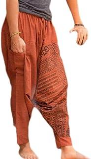 Hokny TD Mens Baggy Hippie Boho Gypsy Aladdin Yoga Pants Harem Pants