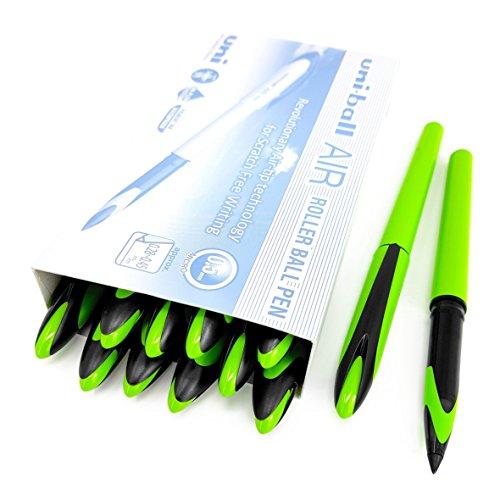 Uni-Ball Air Micro - penna a sfera a punta fine da 0,5 mm, confezione da 12 pezzi, inchiostro blu, corpo verde