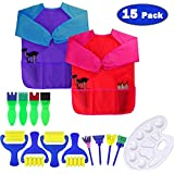 Dreampark Art Smock for Kids, Children Art Aprons - Paint Brushes - Color Palette for Toddler Painting Art and Craft Supplies (15 Pack) Waterproof Long Sleeve 3 Roomy Pockets, Ages 2-6 [並行輸入品]