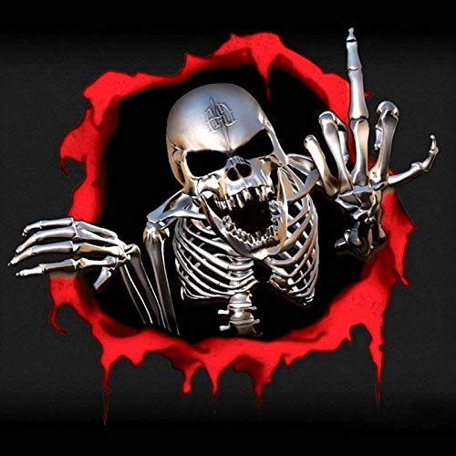 weichuang Tragbarer Treteimer abnehmbare Deckel Ist 15 * 14cm 3D Skeleton Schädel in der Einschussloch-Auto-Aufkleber Lustige Bunte Auto-Aufkleber Auto Autoaufkleber Hanging Abfalleimer Klapp