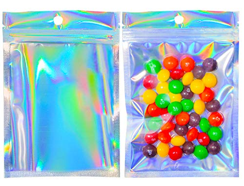 100Pcs Holographic Smell Proof Bags,Resealable Rainbow Holographic Bags Packaging,Foil Pouch Double-Sided Storage Bags,Flat Clear Mylar Ziplock Bags for Food Candy Coffee Beans Nuts Jewelry(4X6 Inch)