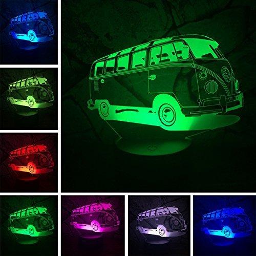 Jinson well 3D bus auto zug Lampe optische Illusion Nachtlicht, 7 Farbwechsel Touch Switch Tisch Schreibtisch Dekoration Lampen mit Acryl Flat Base USB Spielzeug