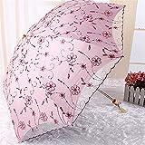 YSVSPRF Paraguas Paraguas Plegables de Flor de Encaje para Mujeres UV Protección Sun Rain Umbrella Bordado Pink Flower Impresión Bolsa Princesa Paraguas (Farbe : A)