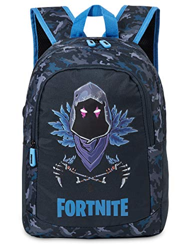 Fortnite School Bag, Backpack For Kids With Raven Skin Design, Large Capacity Rucksack, Official Gaming Merchandise, Gifts For Gamers Boys and Girls (Blue Raven)