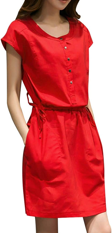 YKDDKK Fashion Women Short Sleeve O Neck Pocket Cotton Linen Loose Casual Dress Long Geometric Dress Denim Sundress Vintage Dress Elegant Ladies Skirt Adds Temperament To You