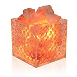 UMAID Natural Himalayan Rock Sea Salt Lamp Bowl with 6 Heated Salt Massage Balls, Stylish Wood Base, Bulb with Dimmable Switch UL-Listed Cord (Himalayan Salt Clear Lamp)