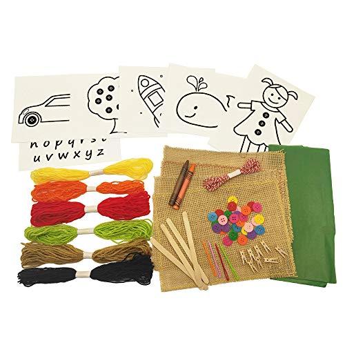 8around-Kit bordado, set de manualidad de costura para principiantes en tela arpillera...
