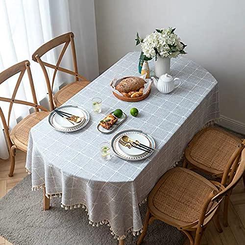 Mantel de Lino Decorativo a Cuadros con borlas Engrosado Banquete de Boda Restaurante de té Sala de Estar Cubierta de Mesa para el hogar A 140x240cm