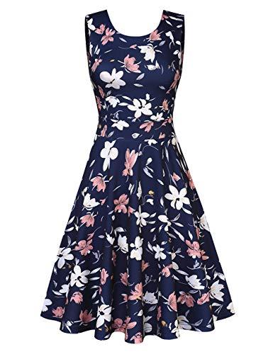 Clearlove Damen Spitzen Rockabilly Kleid Festlich Partykleid Cocktailkleid Brautjungfern Kleid Rundhals
