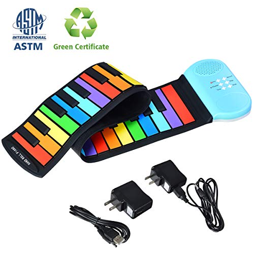 BABY JOY 49-Key Roll-Up Piano, Electronic Digital Music Keyboard w/Support Earphone, 8 Tones, 6 Educational Demo Songs & Build-in Speaker, USB Charging, Recording, Portable Educational Toy Instrument