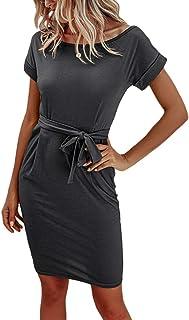 Tomwell Damen Sommerkleid Freizeit Kleid mit Gürtel Einfarbig Elegant Midi Kleider Blusenkleider Ballkleid Festkleid Frauen Tasche Wickelkleider Abendkleider Partykleid