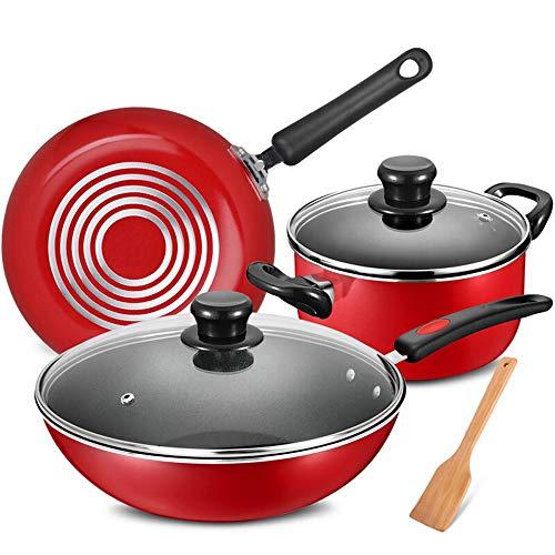 Rghfn Red Suit Pot, Cookware Set, Keukengerei Set, Non-stick Pan, Wok, Driedelige Cooking Pot, Speciale Pot for Open Fire, Necessities cadeaus for het verplaatsen van een nieuw huis, houten schop