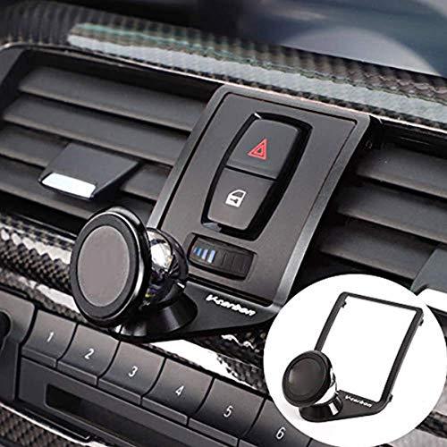 Für BMW 1er-, 2er-, 3er-, 4er-Serie (F22, F23, F30, F31, F34, F32, F33, F34, F35, F36, F80, F82) 2013–2019, M4, Autozubehör, Aluminium-Legierung, Handyhalter-Verkleidung (schwarz)